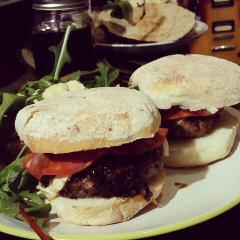 Gluten Free Home made Beef Burgers with Juvela White Rolls