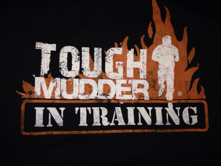 """Close up of the logo and words """"Tough Mudder in Training"""" T-Shirt on a black t-shirt"""