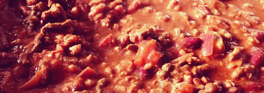 A large pot of chili cooking